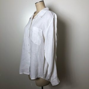 Talbots Vintage White Irish Linen Button Up Shirt